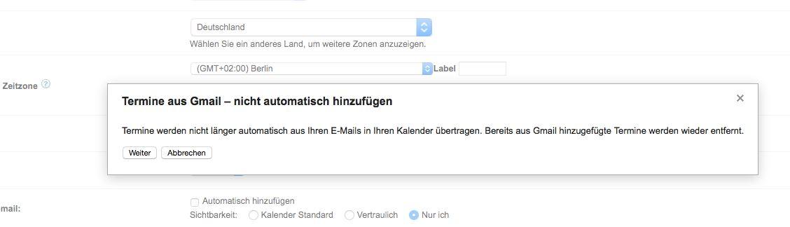 Termine aus Gmail - Hinweis
