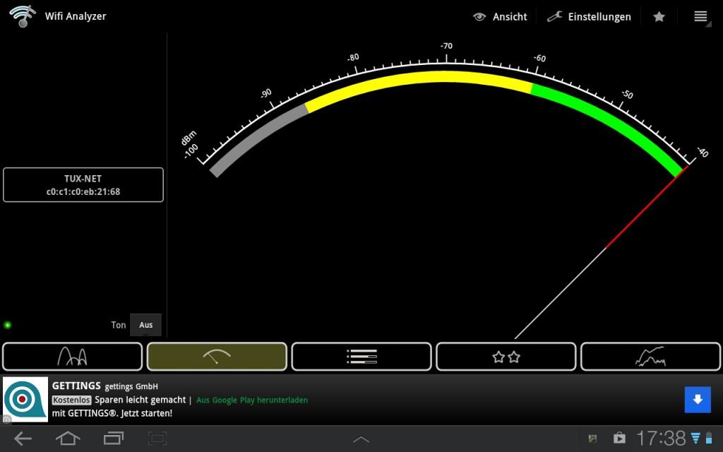 WIFI Analyser Signalstärke ausgewähltes Netz