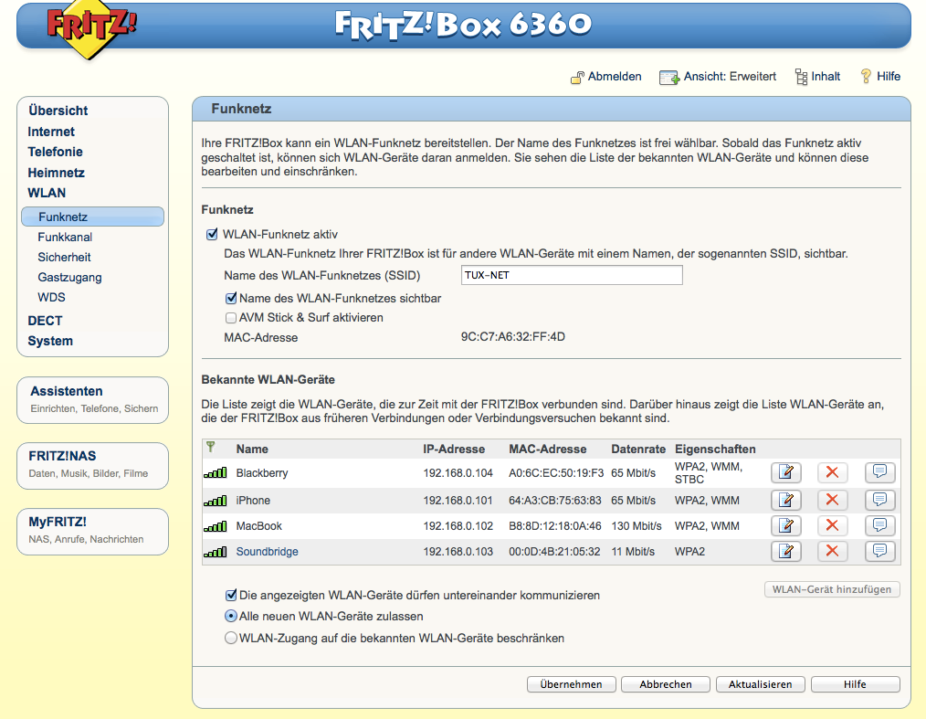 FritzBox - WLAN - Funknetz