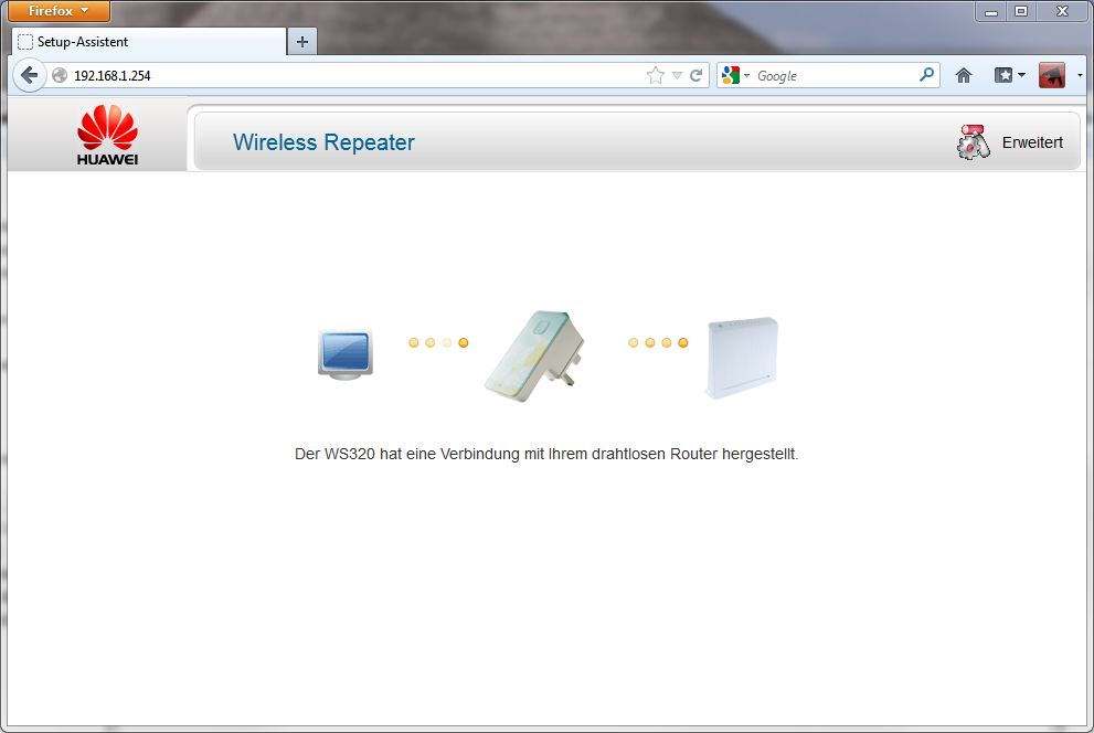HUAWEI WLAN Repeater Aufruf über Browser