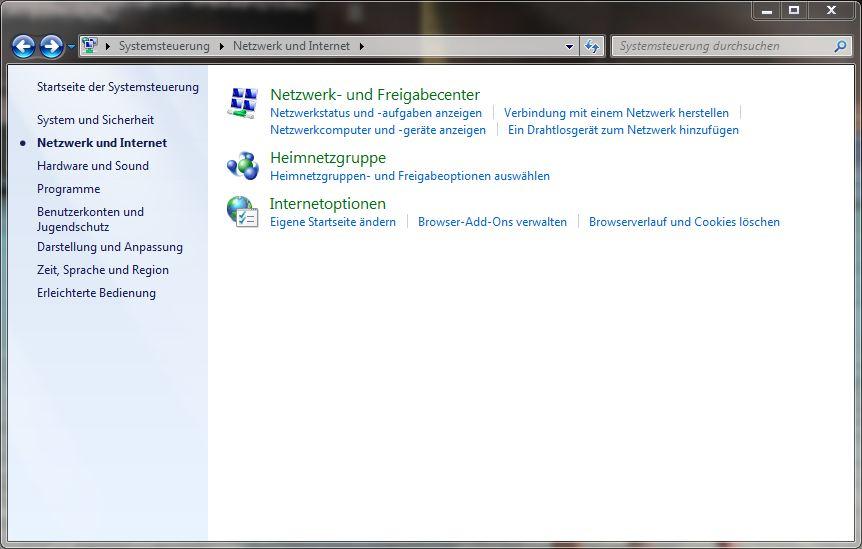 Systemsteuerung - Netzwerk und Internet