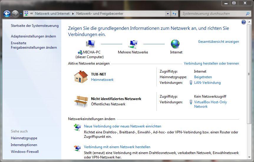 Systemsteuerung - Netzwerk und Internet - Netzwerk und Freigabecenter