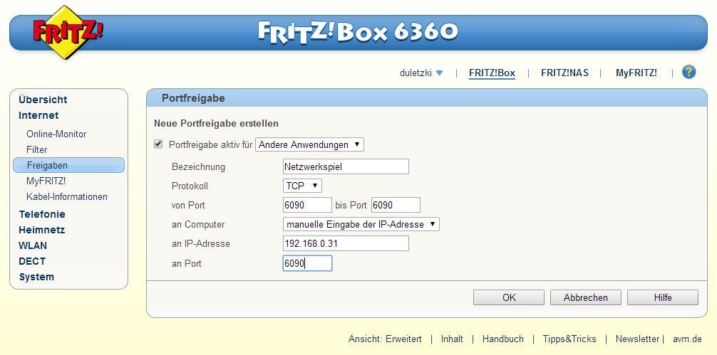 Internet - Freigaben - Portfreigaben - Andere Anwendungen