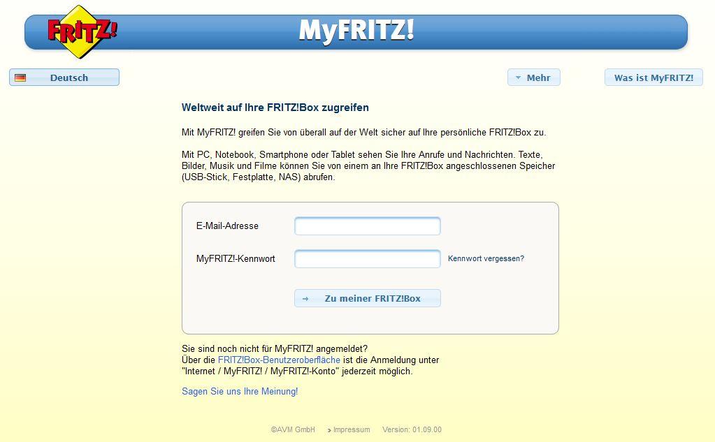 MyFritz anmelden
