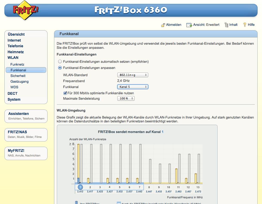 FritzBox - WLAN - Funkkanal - anpassen