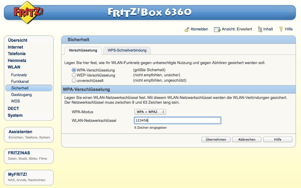 FritzBox - WLAN - Sicherheit