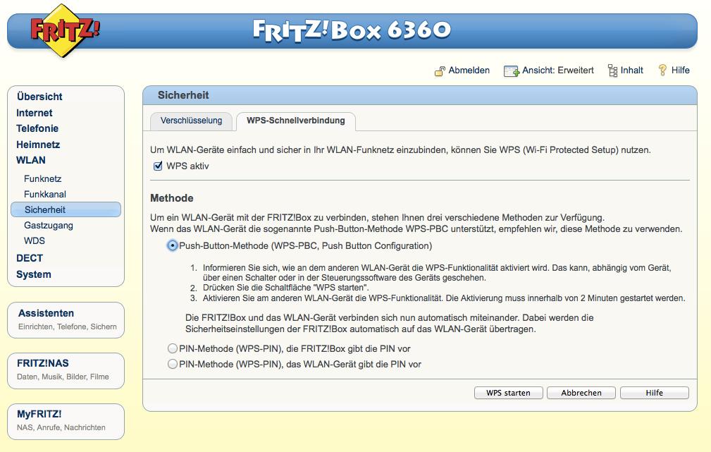 FritzBox - WLAN - Sicherheit - WPS