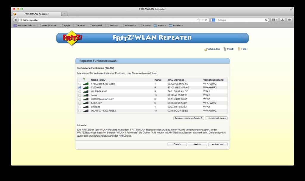 FRITZ! WLAN Repeater - Funknetz auswählen
