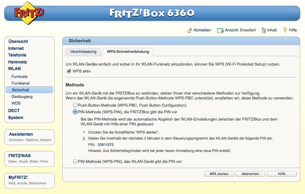 FritzBox - WLAN - Sicherheit - WPS-PIN WLAN-Gerät