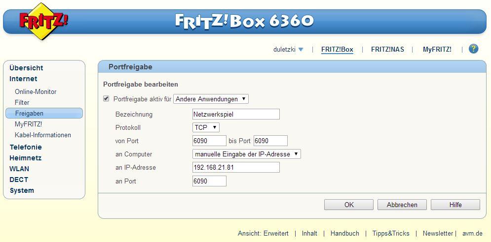 IP Adresse eingetragen