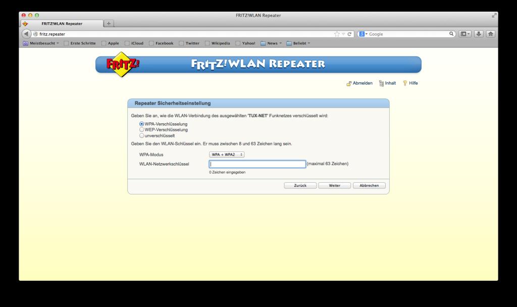 FRITZ! WLAN Repeater - Netzwerkschlüssen eingeben