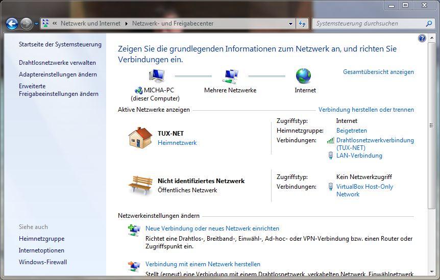 Systemsteuerung - Netzwerk und Internet - Netzwerk- und Freigabecenter