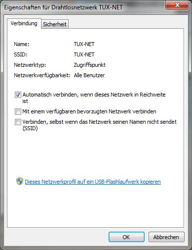 Eigenschaften für Drahtlosnetzwerk