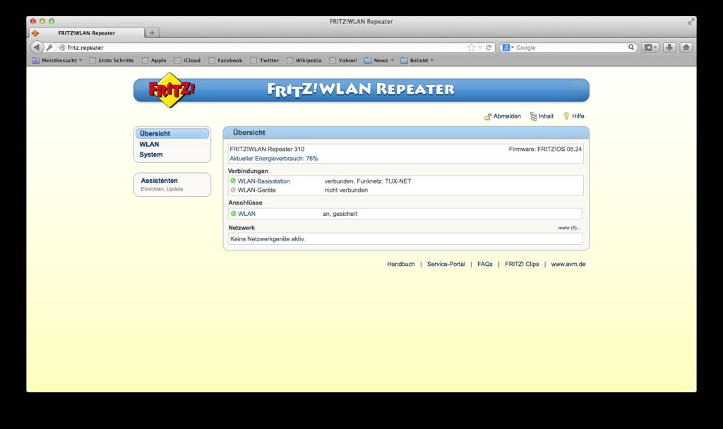 FRITZ! WLAN Repeater - Übersicht