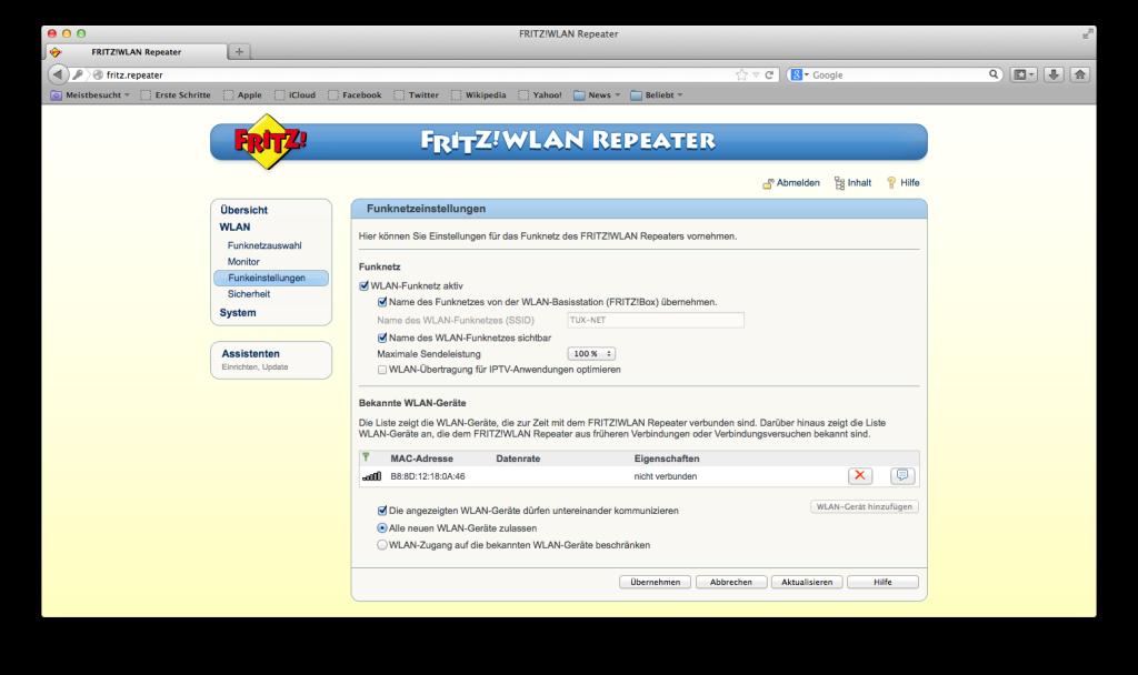 FRITZ! WLAN Repeater - WLAN - Funkeinstellungen