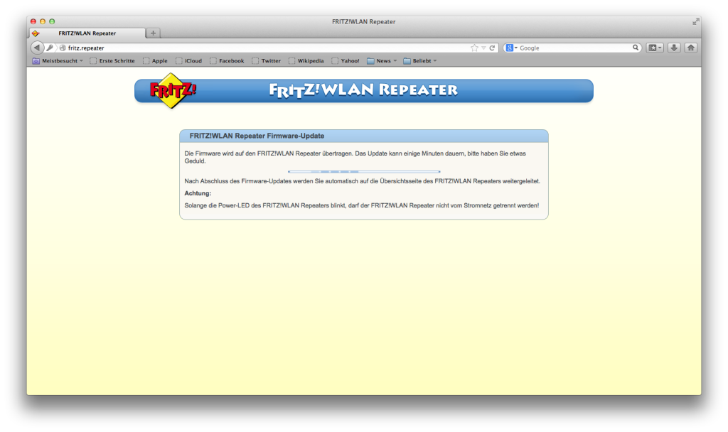 FRITZ! WLAN Repeater - Firmware Update
