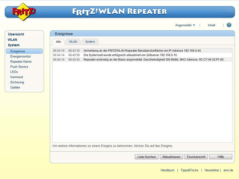 FRITZ! WLAN Repeater - System - Ereignisse - Alle
