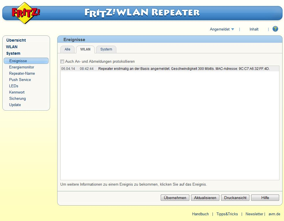 FRITZ! WLAN Repeater - System - Ereignisse - WLAN