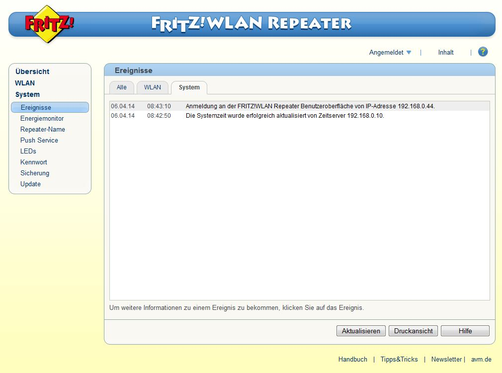 FRITZ! WLAN Repeater - System - Ereignisse - System