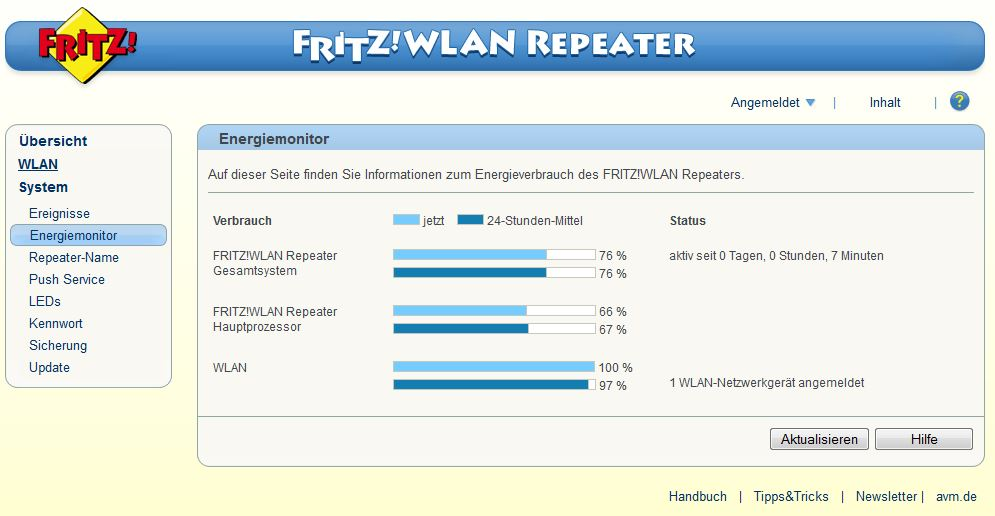 FRITZ! WLAN Repeater - System - Energiemonitor