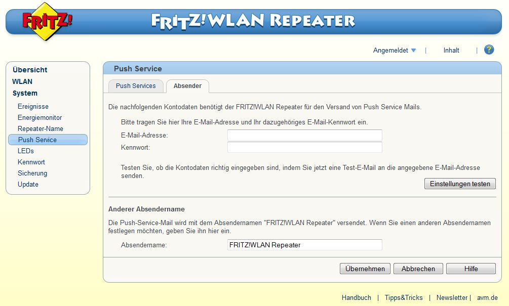 FRITZ! WLAN Repeater - System - Push Service