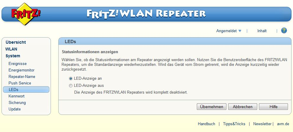 FRITZ! WLAN Repeater - System - LEDs