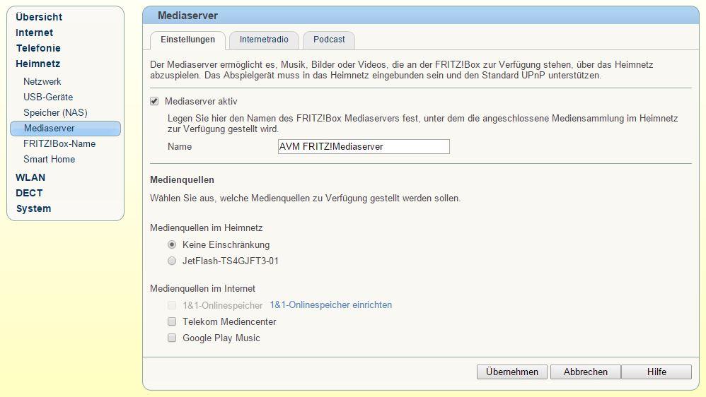 FritzBox - Heimnetz - Mediaserver