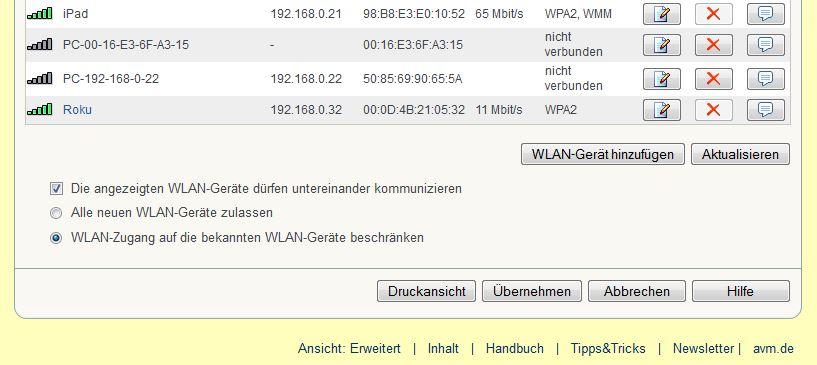FritzBox - MAC-Adresse beschränken