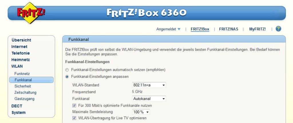 FritzBox - WLAN - Funkkanal - 5 GHz