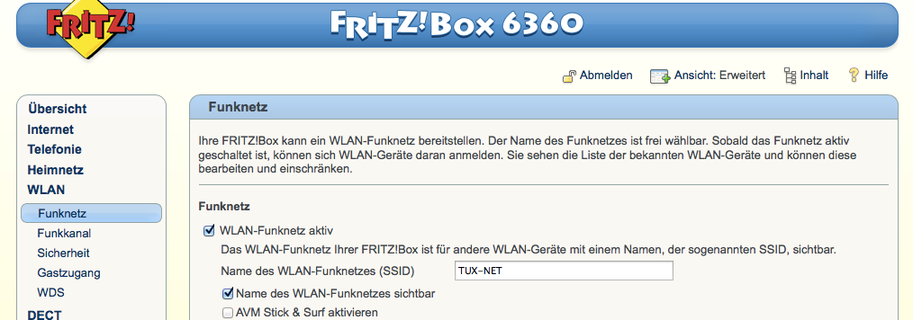 FritzBox-WLAN-Funknetz - SSID