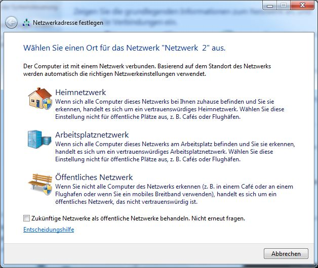 Netzwerkart festlegen