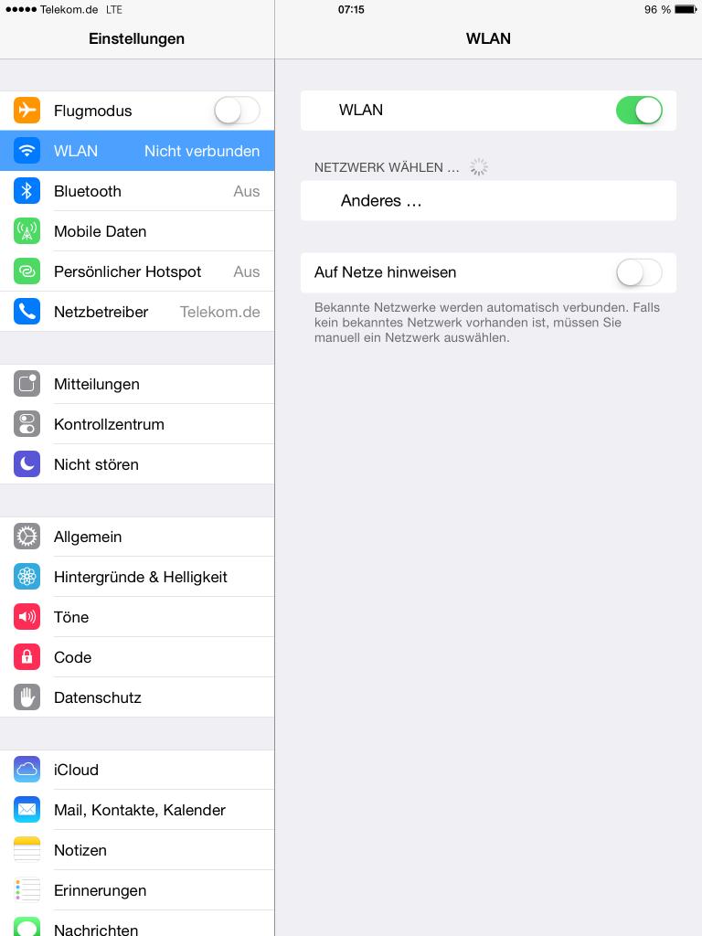 iPad - Einstellungen - WLAN - aktiviert