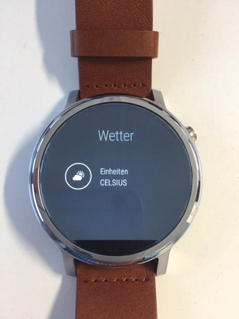 Watch Face anpassen - Menü - Wetter - Temperatur - Celsius