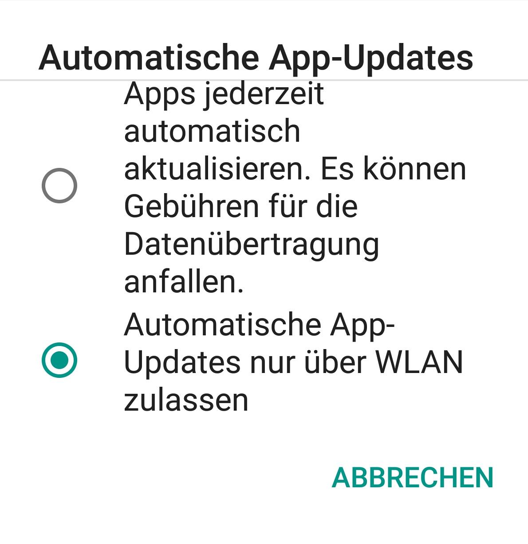 Automatisch App Updates über WLAN zulassen