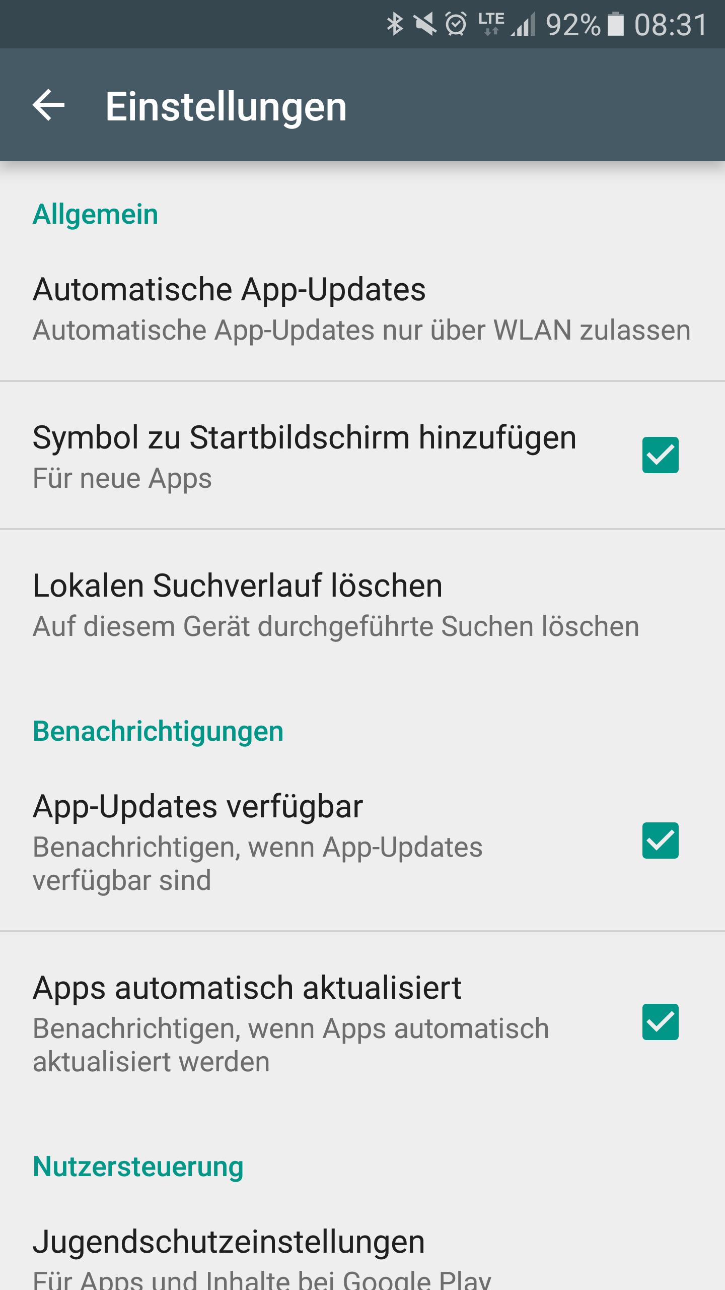 Einstellungen - Automatisch App Updates