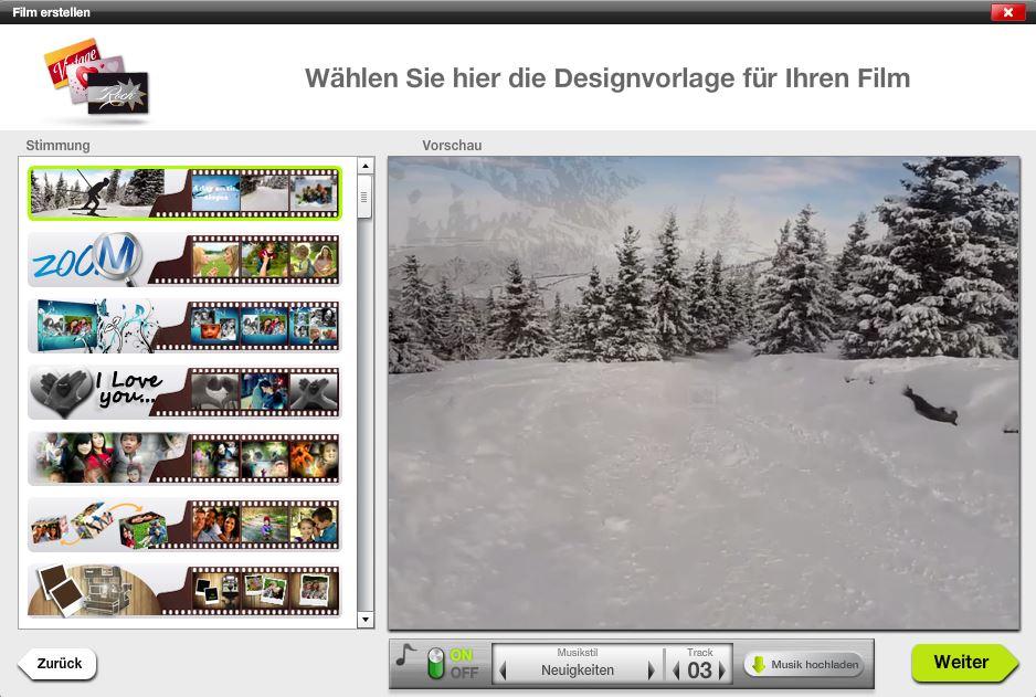 Film erstellen - 02 - Designvorlage auswählen