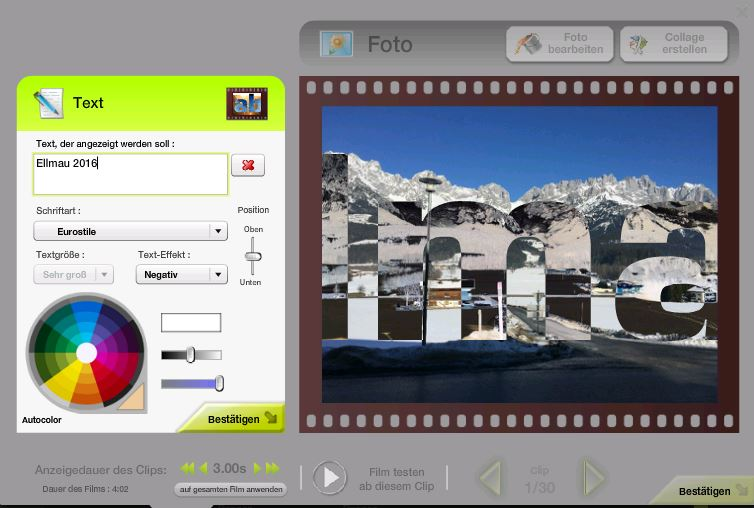 Film erstellen - 07 - Text beim Foto einfügen