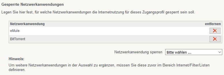 FritzBox - Gesperrte Netzanwendung - Filesharing