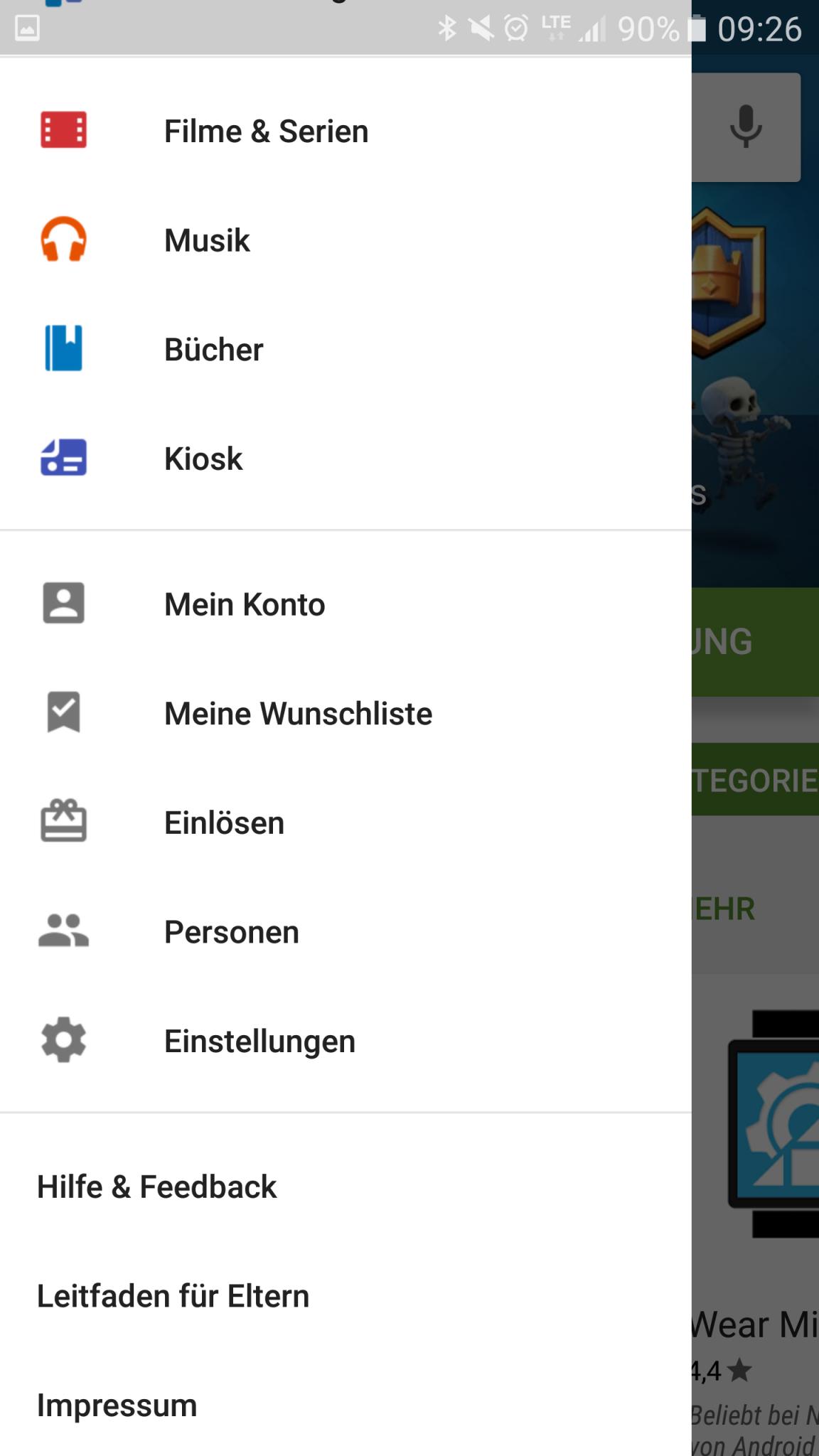 Google Play Store - Einstellungen
