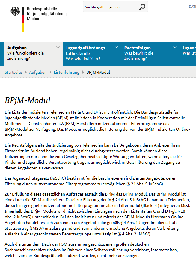 Internetfilter - BPjM-Modul