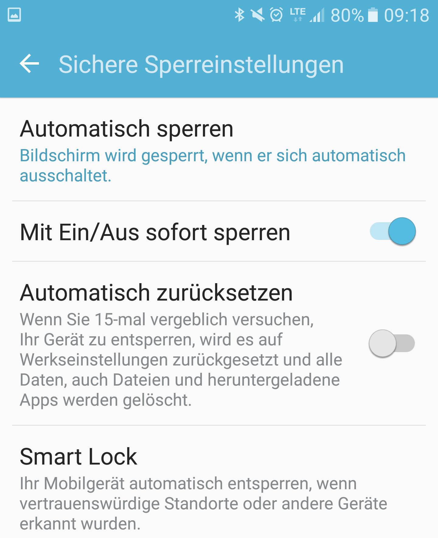Sichere Sperreinstellungen - Smart Lock