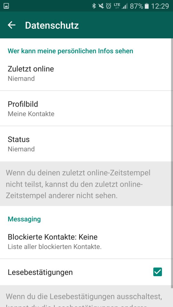 WhatsApp - Account - Datenschutz
