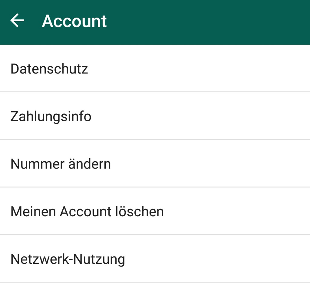 WhatsApp - Einstellungen - Account