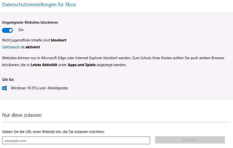 Windows 10 - Datenschutz für Xbox