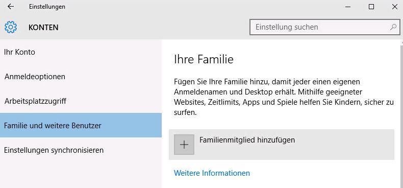 Windows 10 - Familienmitglieder hinzufügen