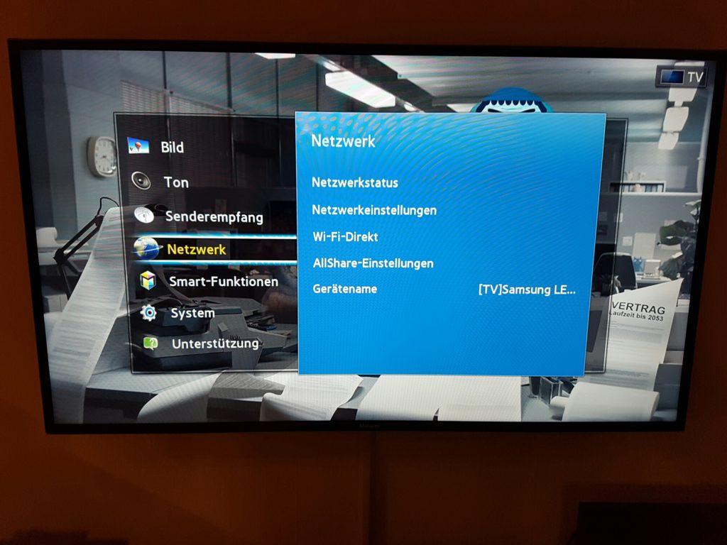Samsung TV - Menü - Netzwerk