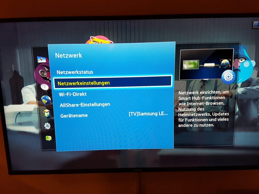 Samsung TV - Menü - Netzwerk - Netzwerkeinstellungen