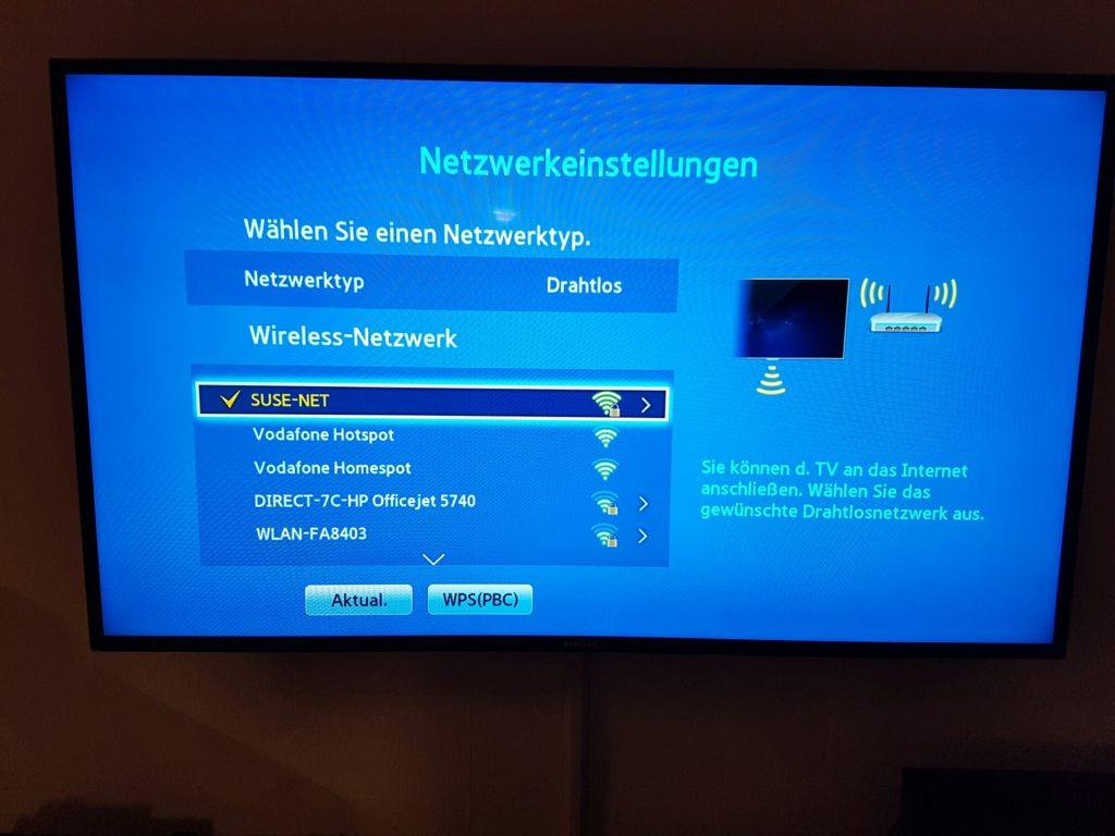 Samsung TV - Menü - Netzwerk - Netzwerkeinstellungen - Netzwerktyp