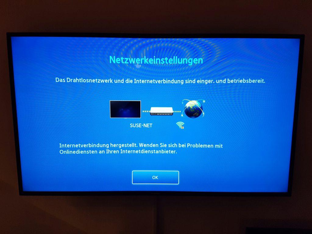 Samsung TV - Menü - Netzwerk - Netzwerkeinstellungen - Verbindung erfolgreich