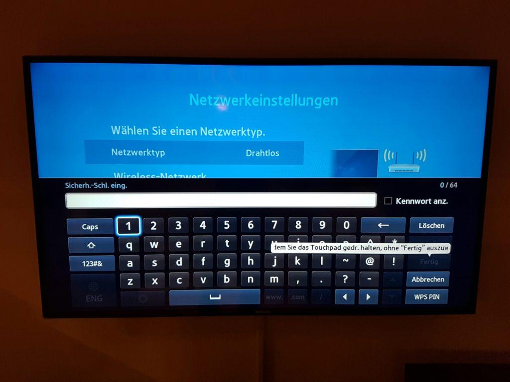 Samsung TV - Menü - Netzwerk - Netzwerkeinstellungen - WLAN Passwort